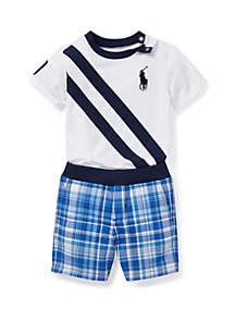Ralph Lauren Childrenswear Baby Boys Tee and Reversible Short Set