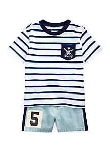 Ralph Lauren Childrenswear Baby Boys Cotton Tee and Short Set