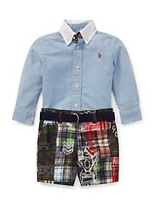 Ralph Lauren Childrenswear Baby Boys Shirt, Belt & Short Set