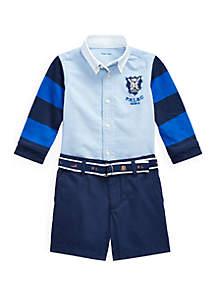 Ralph Lauren Childrenswear Baby Boys Shirt, Belt and Short Set