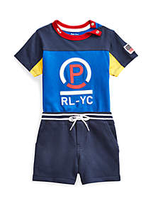 721409a6d ... Ralph Lauren Childrenswear Baby Boys Cotton Tee and Shorts Set