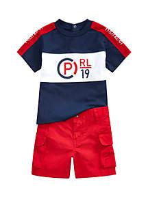 Ralph Lauren Childrenswear Baby Boys CP Tee and Cargo Short Set