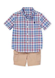 1caf163419d89a ... Polo Shortall · Ralph Lauren Childrenswear Baby Boys Plaid Shirt and  Cargo Short Set