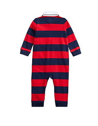 Baby Boys Ralph Lauren Polo Baby Boys Shawl Collar Varsity Fleece Bear Coverall Clothing