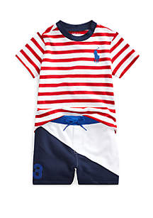 77c7bfa3a ... Ralph Lauren Childrenswear Baby Boys Cotton Tee and Shorts Set