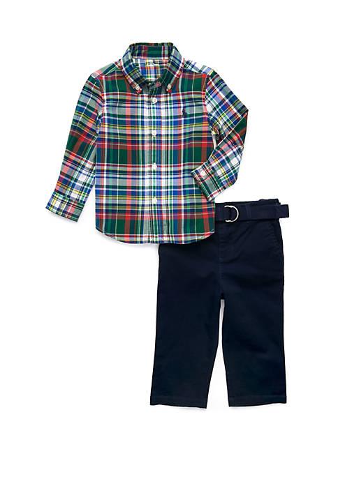 Ralph Lauren Childrenswear Baby Boys Plaid Shirt and