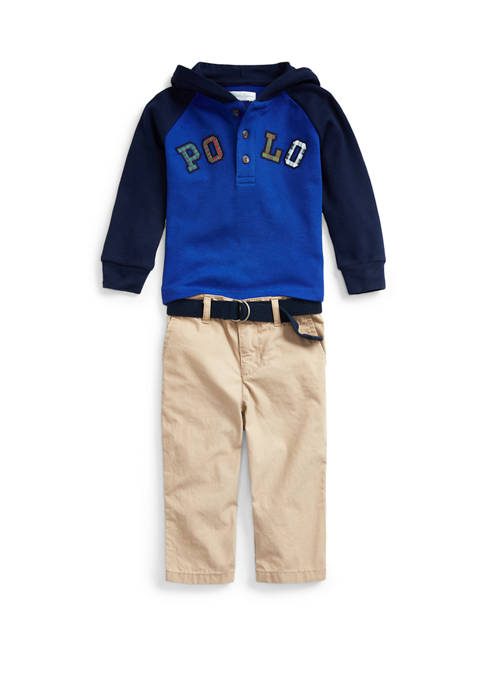 Baby Boys Hooded Top and Belted Pant Set