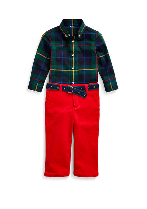 Baby Boys Plaid Shirt & Belted Pant Set