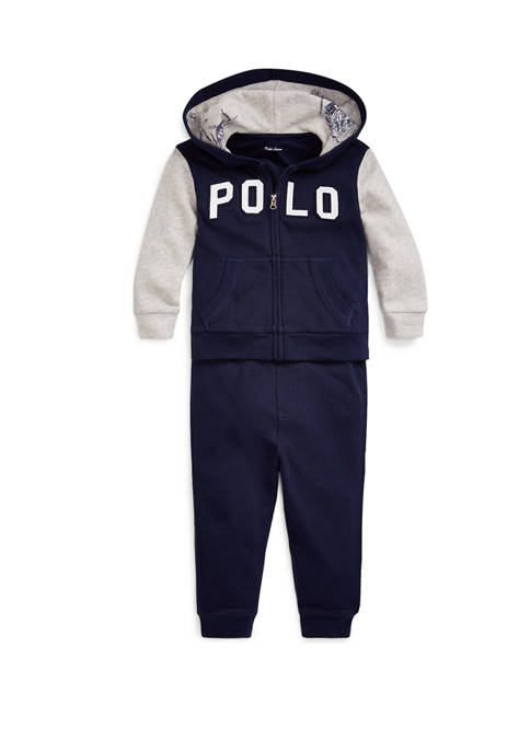 Baby Boys Cotton Terry Hoodie & Pant Set