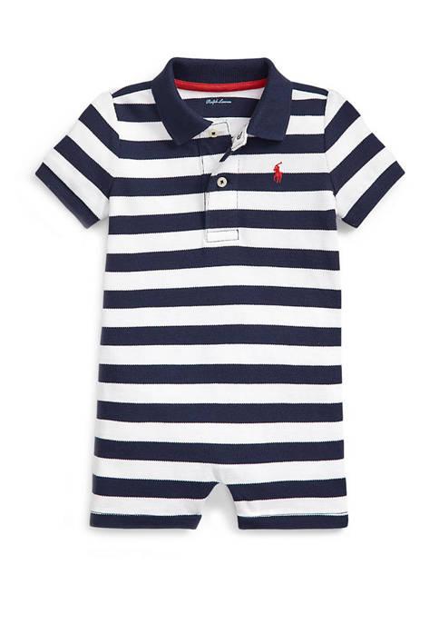 Baby Boys Striped Mesh Polo Shortall