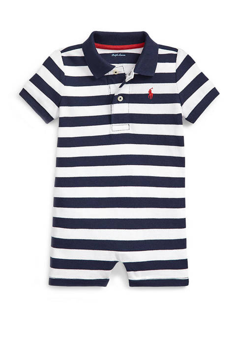 Ralph Lauren Childrenswear Baby Boys Striped Mesh Polo