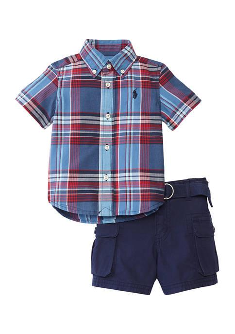 Ralph Lauren Childrenswear Baby Boys Madras Shorts Set