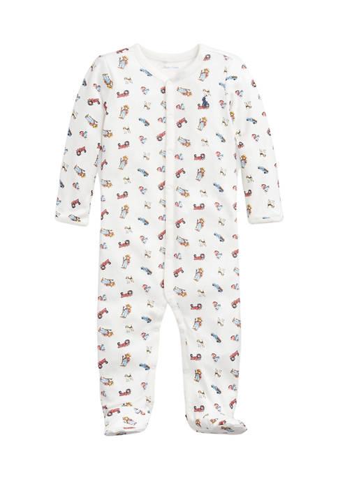 Baby Boys Farmer Bear Cotton One Piece Coverall