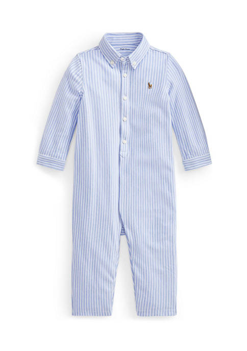 Baby Boys Striped Knit Oxford One Piece Coverall