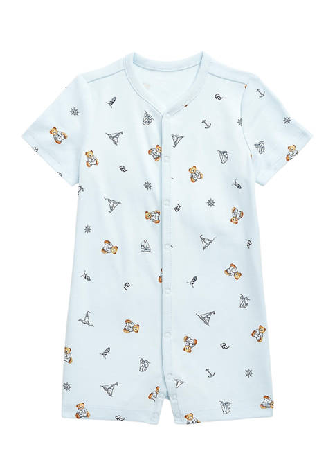Ralph Lauren Childrenswear Baby Boys Bear-Print Interlock Polo