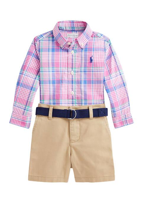 Ralph Lauren Childrenswear Baby Boys Plaid Shirt, Belt