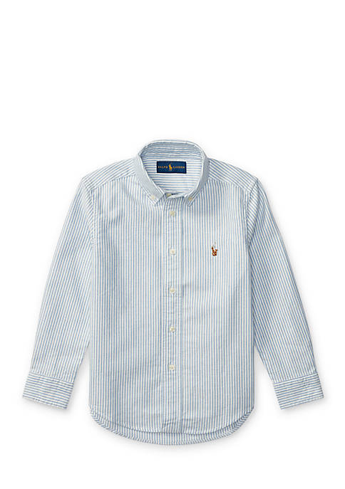 Striped Cotton Oxford Button Front Shirt Toddler Boys