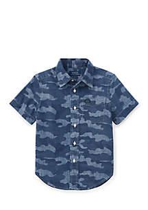 Boys Toddler Camo Cotton Chambray Shirt