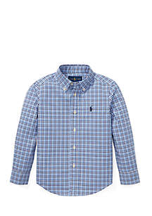 Toddler Boys Plaid Stretch Cotton Button Front Shirt