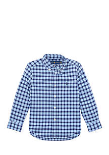 Toddler Boys Plaid Performance Poplin Shirt