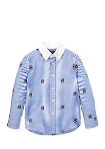 Toddler Boys Striped Stretch Cotton Shirt