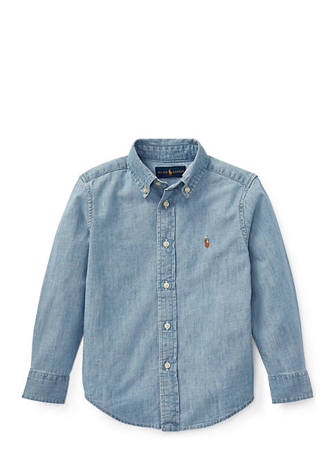 Toddler Boys Indigo Cotton Chambray Shirt