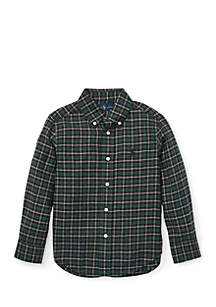 Toddler Boys Plaid Cotton Twill Shirt