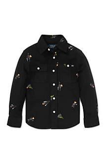 Toddler Boys Polo Bear Cotton Flannel Shirt