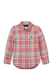 Toddler Boys Plaid Cotton Poplin Shirt