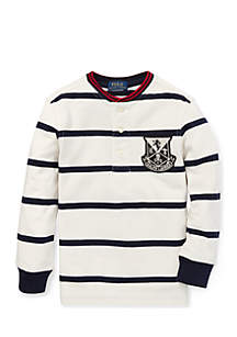 Toddler Boys Striped Cotton Mesh Henley