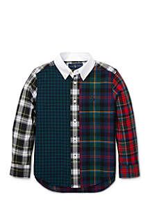 Toddler Boys Plaid Cotton Poplin Fun Shirt