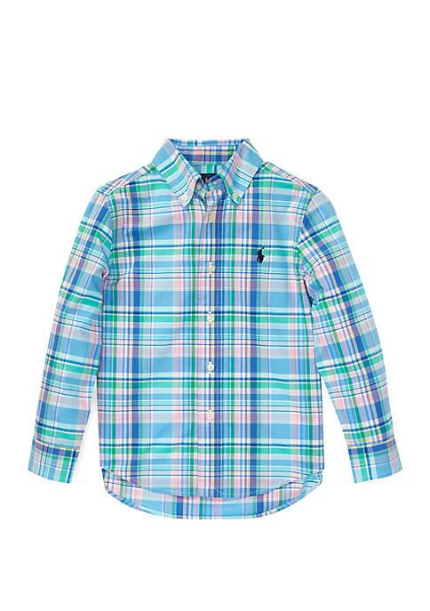 Ralph Lauren Childrenswear Toddler Boys Plaid Cotton Poplin