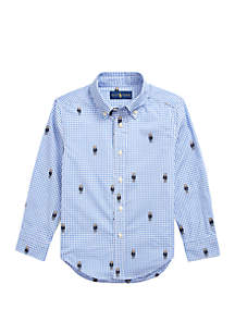 Ralph Lauren Childrenswear Toddler Boys Polo Bear Gingham Cotton Shirt