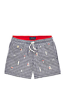 Ralph Lauren Childrenswear Toddler Boys Traveler Gingham Swim Trunks