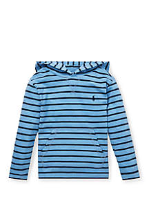 Ralph Lauren Childrenswear Toddler Boys Striped Cotton Jersey Hooded Tee
