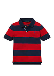 Ralph Lauren Childrenswear Toddler Boys Striped Cotton Mesh Polo Shirt