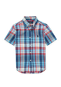 Ralph Lauren Childrenswear Toddler Boys Cotton Madras Shirt