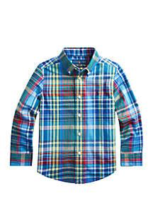 Ralph Lauren Childrenswear Toddler Boys Plaid Stretch Cotton Shirt