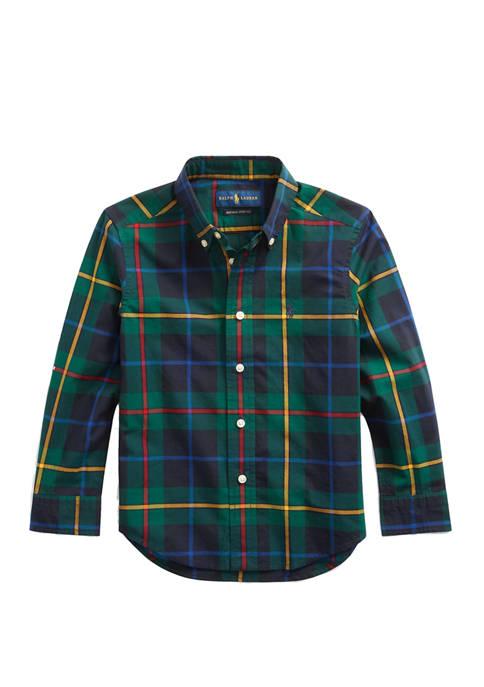 Toddler Boys Plaid Cotton Poplin Shirt