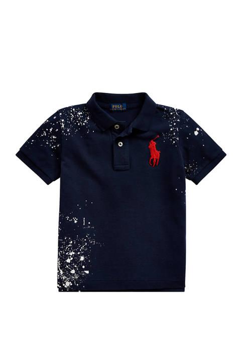 Toddler Boys Distressed Cotton Mesh Polo Shirt