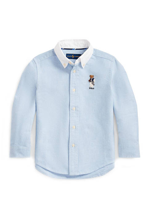Toddler Boys Football Bear Cotton Shirt