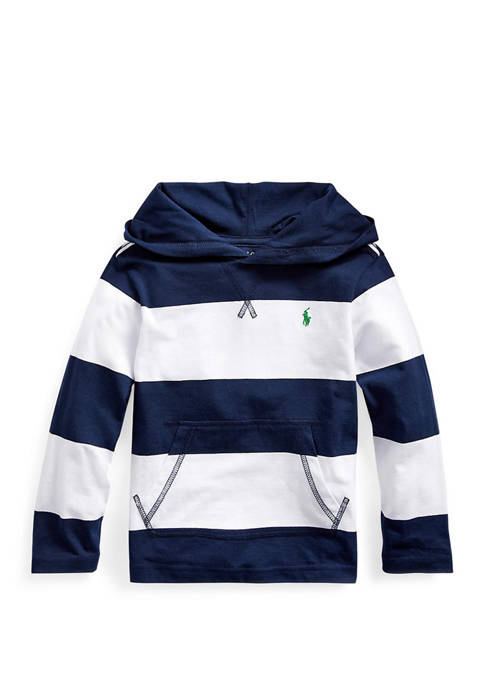 Toddler Boys Striped Cotton Hooded Tee