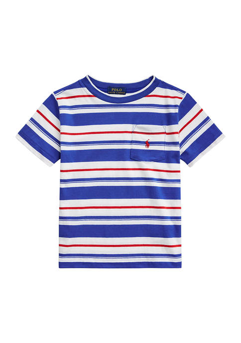 Toddler Boys Striped Cotton Pocket T-Shirt