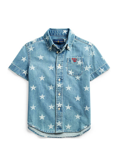 Toddler Boys Star-Print Cotton Denim Shirt