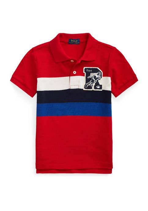 Toddler Boys Letterman Patch Cotton Mesh Polo Shirt