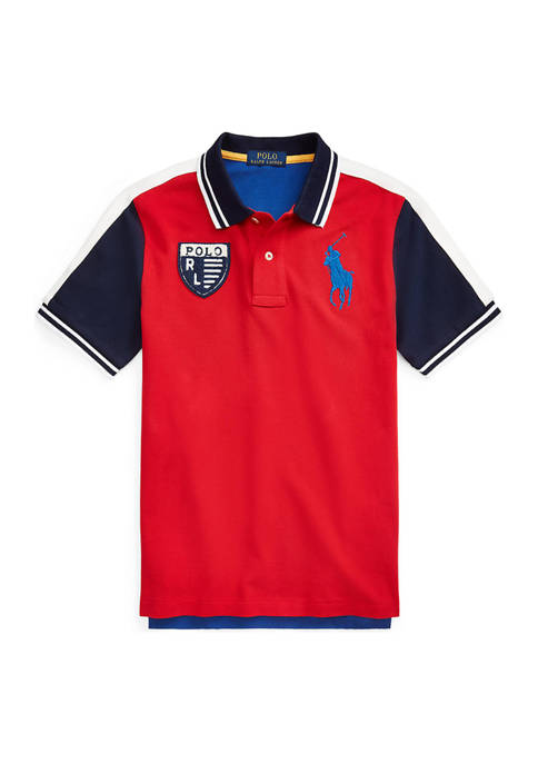 Toddler Boys Color Blocked Cotton Mesh Polo Shirt