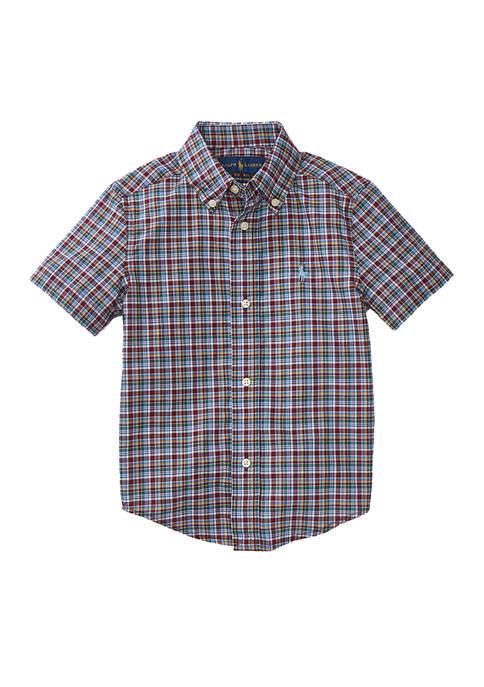 Toddler Boys Natural Stretch Poplin Short Sleeve Shirt