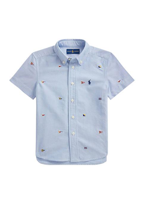 Toddler Boys Nautical Flag Cotton Oxford Shirt