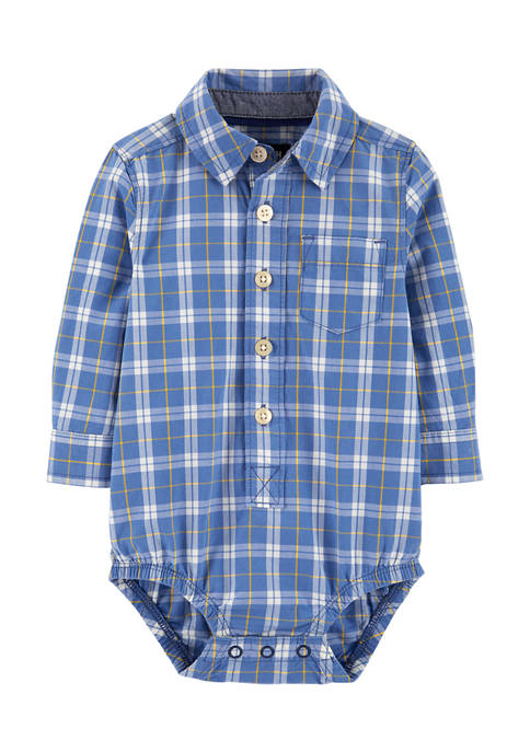 Baby Boys Blue Plaid Button Front Bodysuit