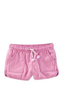 Pull-On Drapey Twill Shorts Toddler Girls